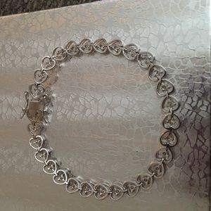 Jewelry - Sterling silver tennis heart diamond bracelet
