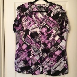 AGB purple and black button front top!