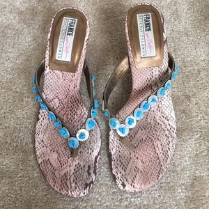 Beverly Feldman Shoes - BEVERLY FELDMAN slides w turquoise accents🔷