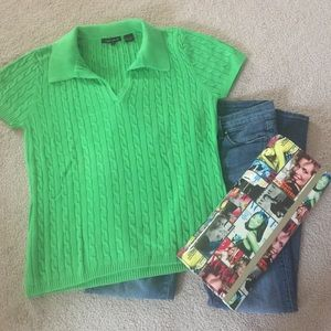 Jeanne Pierre Sweaters - Green short sleeve knitted top