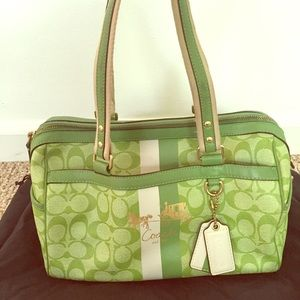 Green Auth Coach Barrel Bag in great condition.