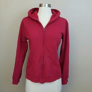 Red full zip hoodie