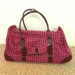 Handbags - Pink and black houndstooth Rolling Overnight Bag