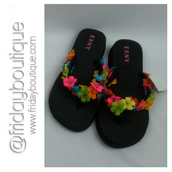e60d88385 Black Flip Flops with Floral Beaded Trim. NWT. Esny