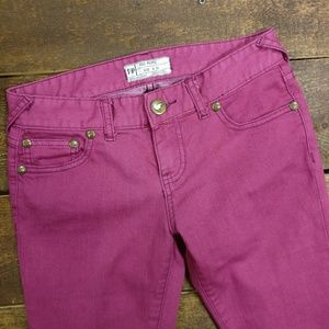 Free People Pants - Free People Pink Stretchy Skinny Jeans Ankle Zips