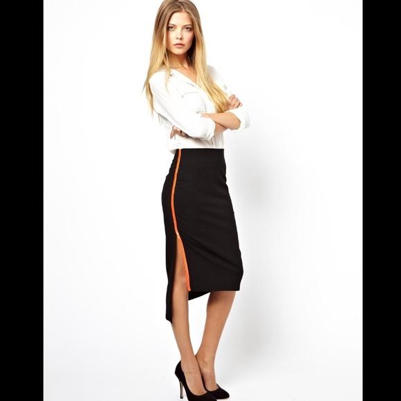 7dddba7cd ASOS Skirts | Pencil Skirt With Neon Binding Side Split | Poshmark