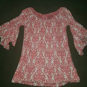 Tops - Coral damask blouse