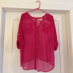 Pink, flowy button down tunic. Size small.
