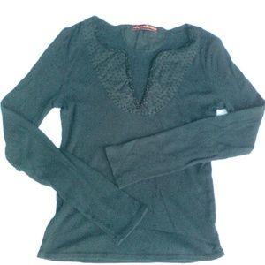 American Exchange Tops - Black Ribbed Long Sleeve Shirt W/Beaded V-Neckline