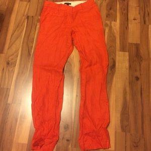 Orange JCREW linen pants