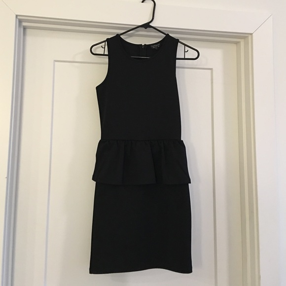 Topshop Dresses & Skirts - Black fitted peplum Topshop dress. Size 2.