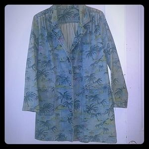 VINTAGE Denim Tropical Island Trench Coat SZ S