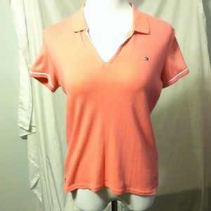 Tommy Hilfiger bright pink polo shirt