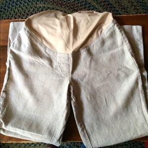LOFT Pants - Maternity tan linen wide leg pants
