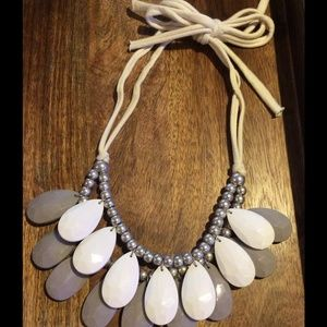 Grey and white teardrop statement necklace