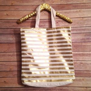Handbags - NWT Gold and White Striped Canvas Tote Bag
