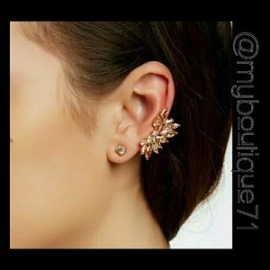 Champagne Crystal Wing Ear Cuff and Stud Set