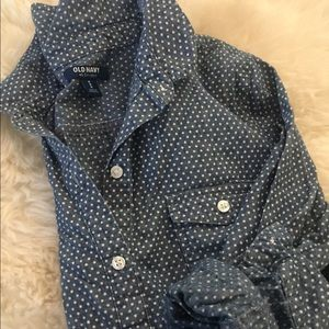 OLD NAVY Polka Dot Chambray Shirt