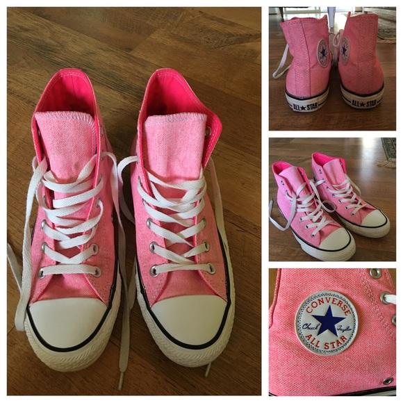 a5a41f5566ba Chuck Taylor Converse All Star Hi Tops Neon Pink 8.  M 56ca616a4e8d17d2a50107a0