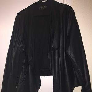Bagatelle Cascade Collar Faux Leather Jacket-Plus