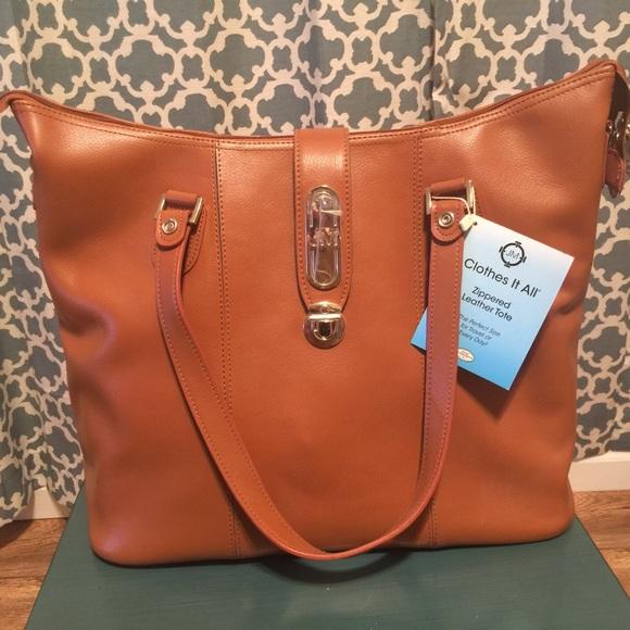 Joy Mangano Bags   Genuine Luxe Leather Cognac Tote   Poshmark 2e325a9fe9