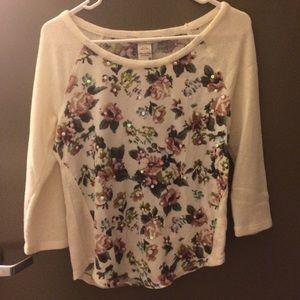 American Rag white rose print sweater