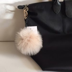 🌟FREE with $15 or More! Cream Faux Fur Keychain