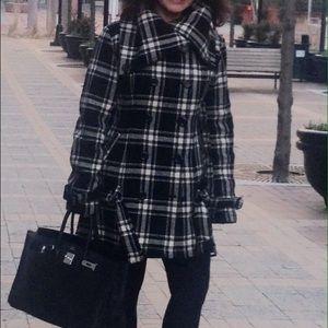 Black/White Plaid Wool Blend Coat
