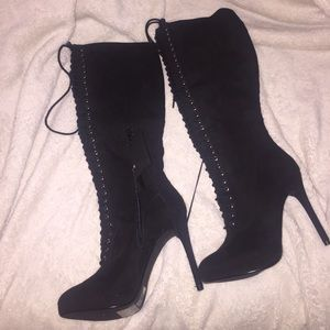 NWT LACE UP HIGH HEEL BOOTS