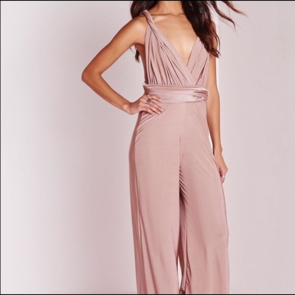 403a8a76927 Missguided Multiway jumpsuit satin pink