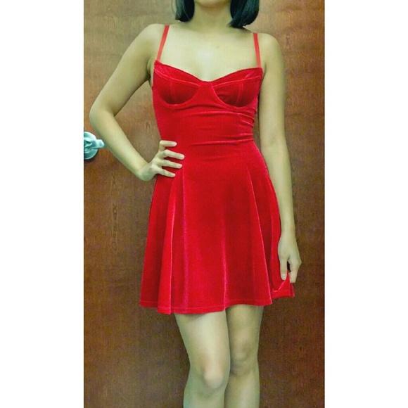 e1679a960d American Apparel Dresses & Skirts - American Apparel Red Velvet Bustier Skater  Dress