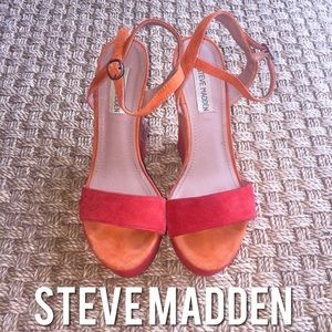 Steve Madden Shoes - Steve Madden Wimzicul Orange Red Platform Wedges 8
