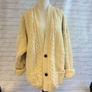 Sweaters - Cream Wool Cardigan