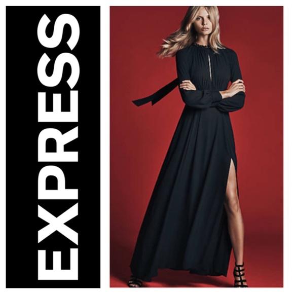 5087420c1b Express black poet sleeve maxi dress open back 0