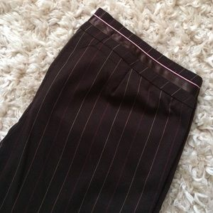 Brown Trousers with Pink and Yellow Pinstripes