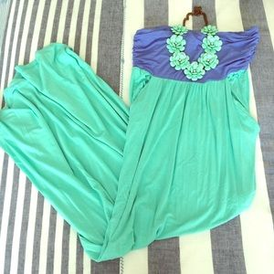 Boutique Dresses & Skirts - Strapless Mint and Blue Maxi Dress