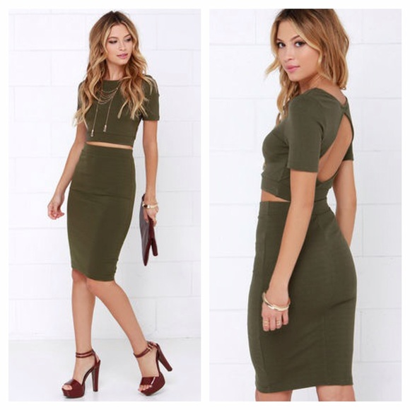 Lulu S Dresses Lulus 2 Piece Midi Skirt Crop Top Olive Green