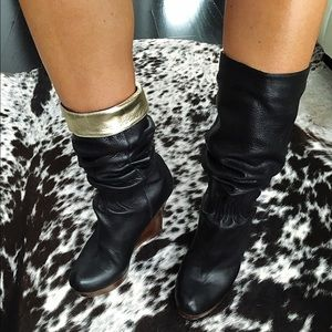 CYNTHIA STEFFE Black Leather Wedge Boots 37.5