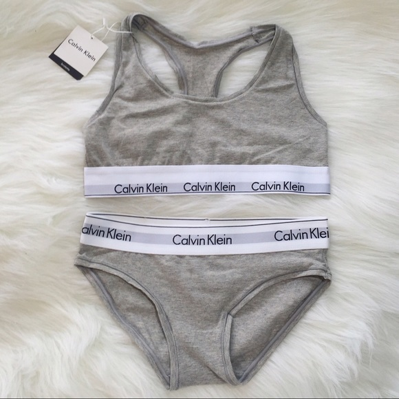 32cb379f74b49 gray Calvin Klein sports bra and underwear set