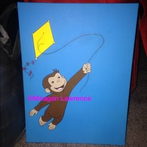 Curious george other on poshmark for Curious george mural
