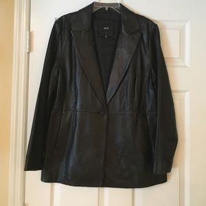 JLC New York black leather blazer jacket