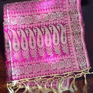 Indian Silk Scarfs with Gold Threading