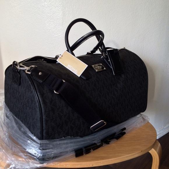 d6fe37050fc97e MICHAEL Michael Kors Bags | Black Duffle Bag Mk Signature Carryon ...