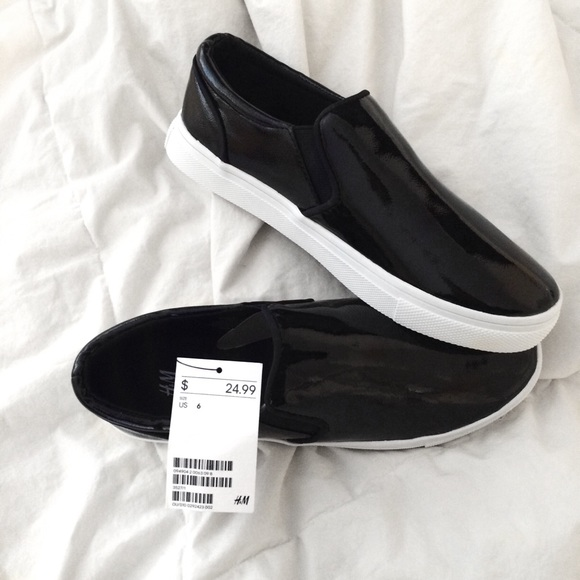 24 h m shoes h m black platform slip on shoes from