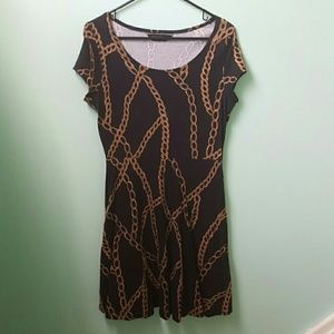 Dorothy Perkins Black and Gold Chain Skater Dress