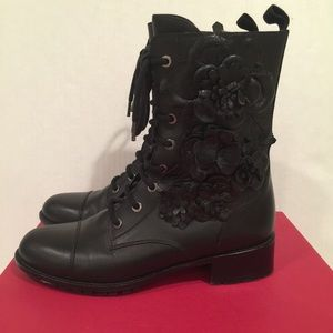 Valentino Shoes - VALENTINO ROSETTE LACE UP COMBAT BOOTS