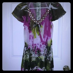 Tunic style jeweled top