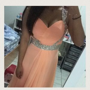 Peach prom formal dress