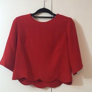 Tops - Scallop trim boxy blouse