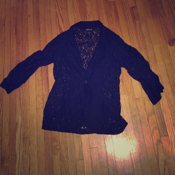 Lace blazer size Medium wet seal 3/4 sleeve EUC
